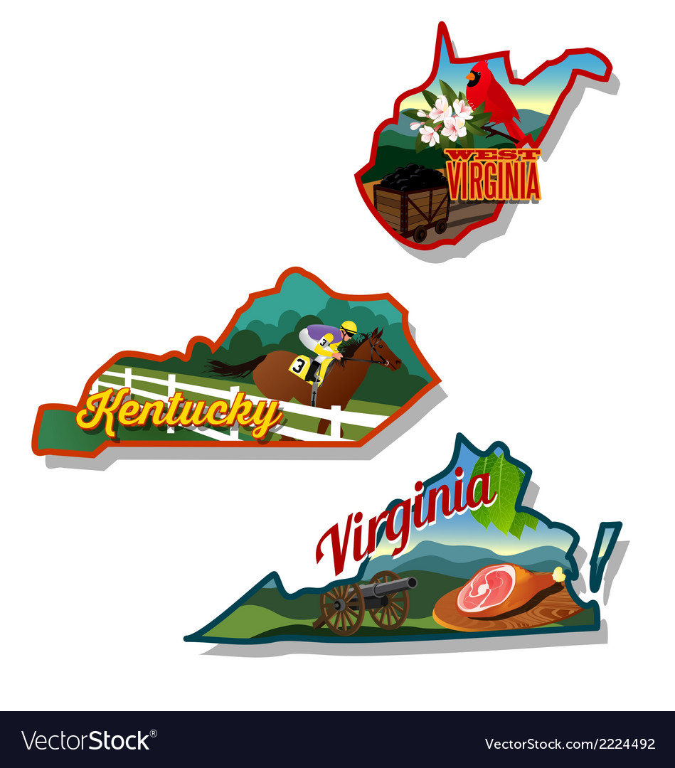Kentucky virginia west virginia retro vector | Price: 3 Credit (USD $3)
