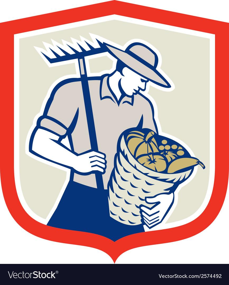 Organic farmer rake harvest basket retro vector | Price: 1 Credit (USD $1)