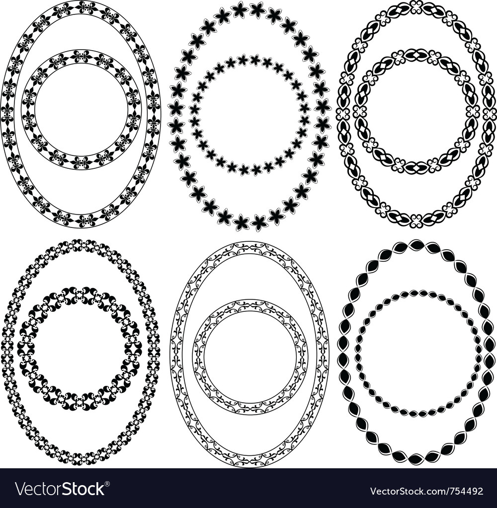 Oval and circle decorative frames vector | Price: 1 Credit (USD $1)