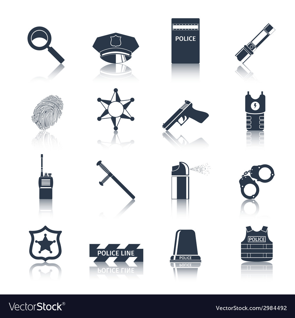 Police icons set black vector | Price: 1 Credit (USD $1)
