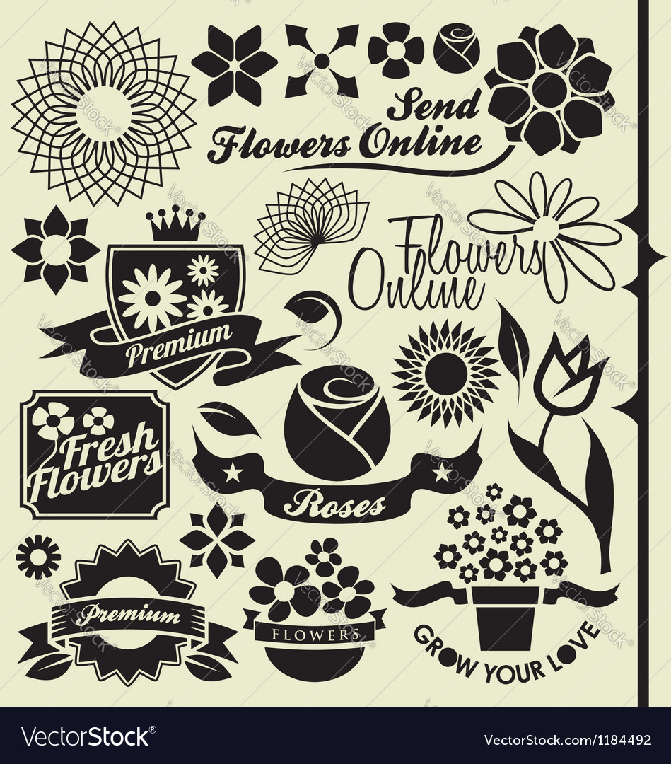 Set of flower symbols and icons vector | Price: 1 Credit (USD $1)
