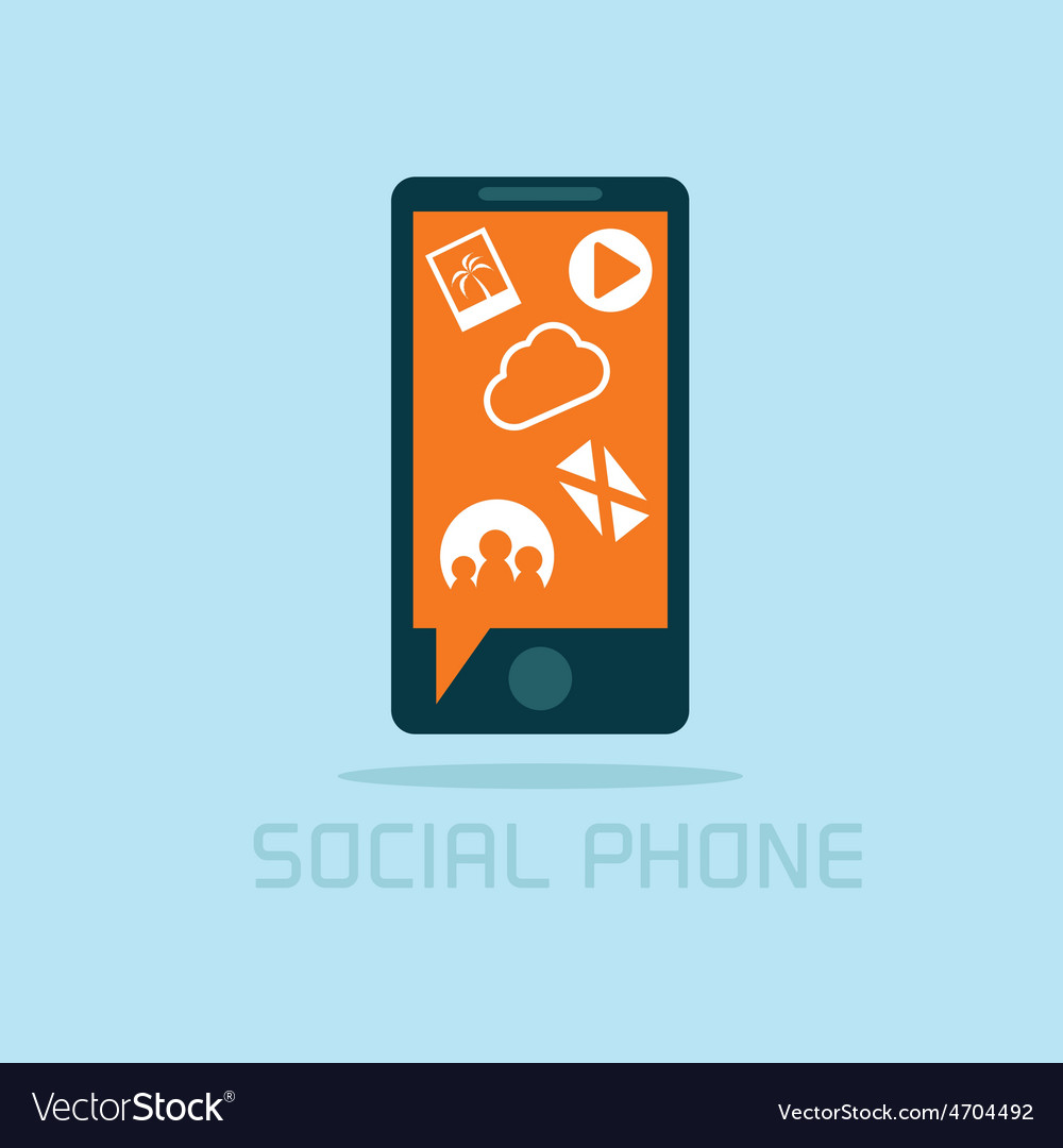 Social phone concept flat design vector | Price: 1 Credit (USD $1)