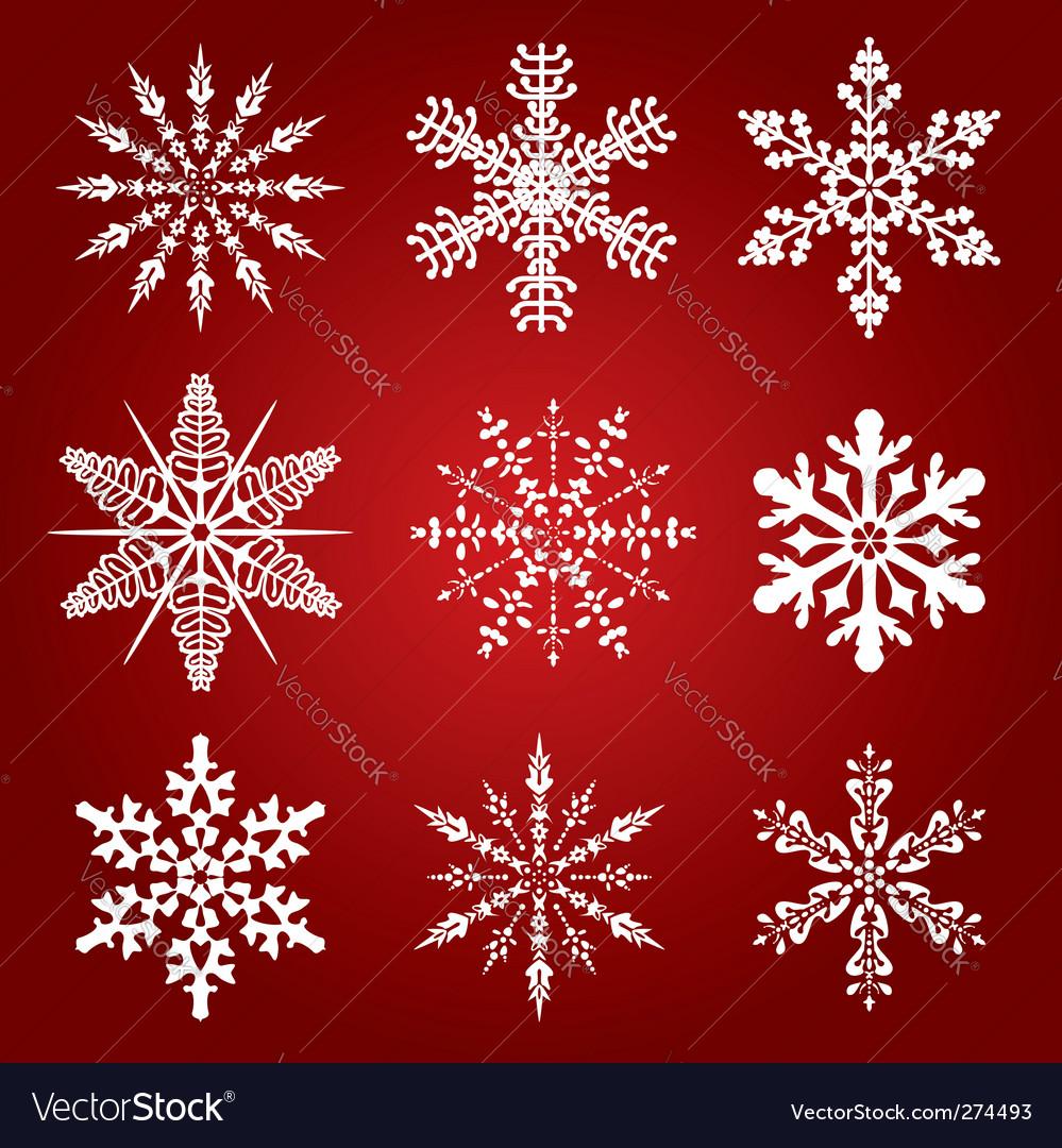 9 snowflakes vector | Price: 1 Credit (USD $1)