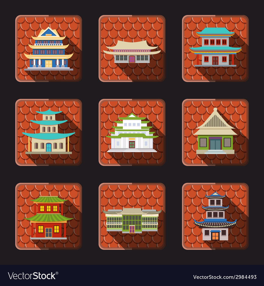 Chinese house icons tile vector | Price: 1 Credit (USD $1)