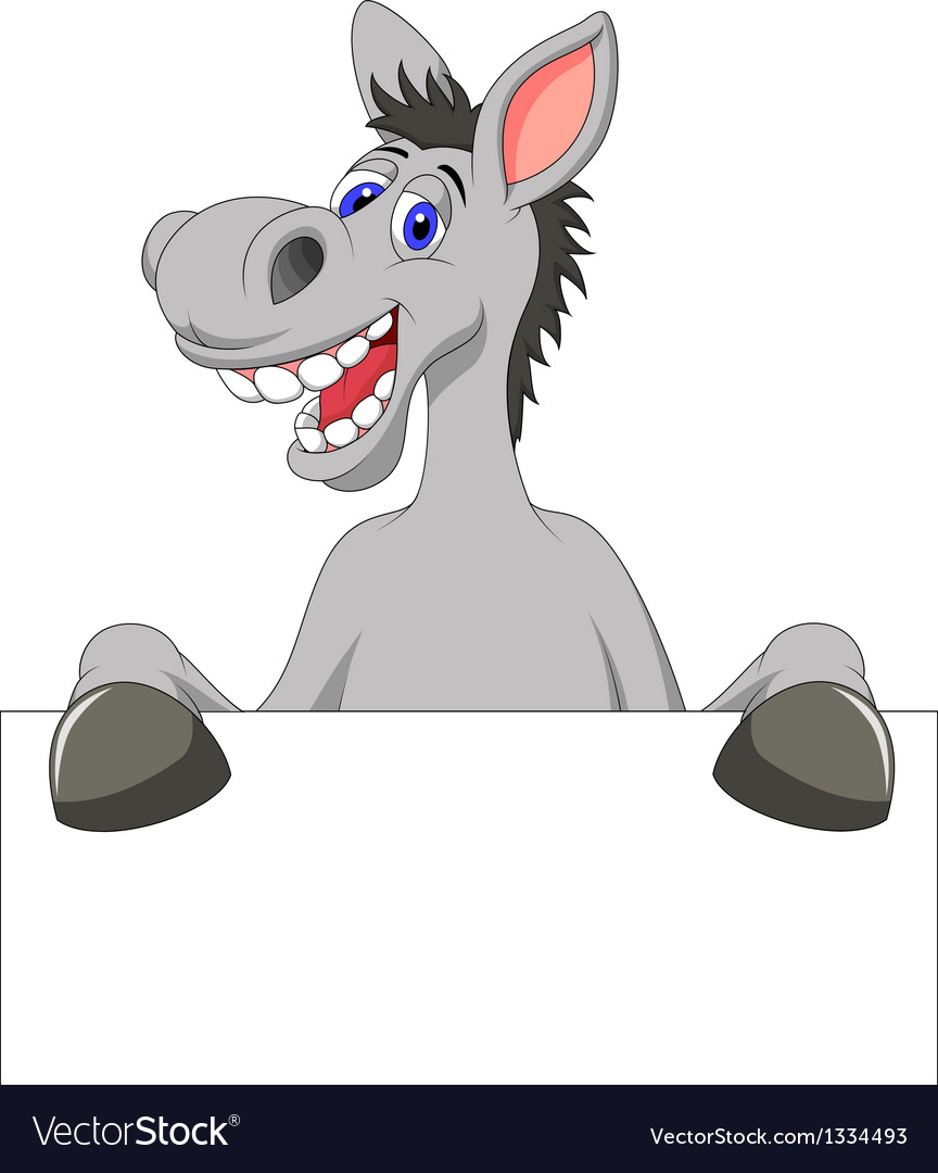 Donkey cartoon with blank sign vector | Price: 1 Credit (USD $1)