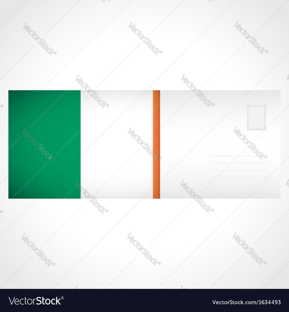 Envelope with irish flag card vector | Price: 1 Credit (USD $1)