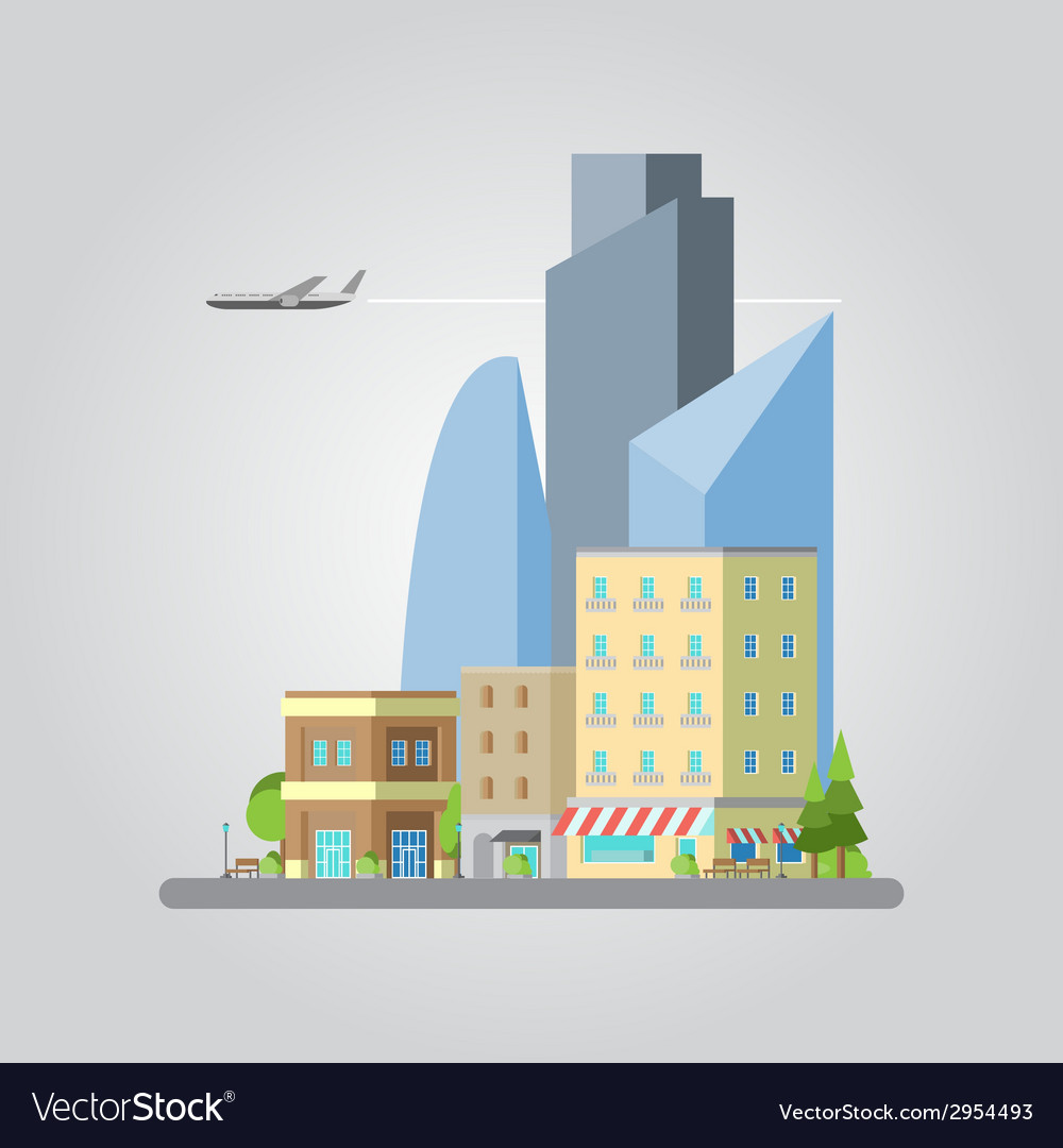 Flat design of colorful cityscape vector | Price: 1 Credit (USD $1)