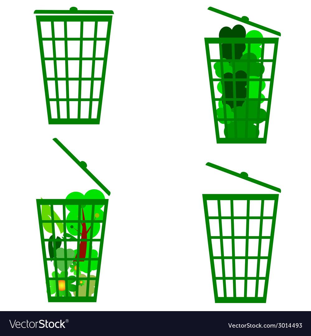 Green basket vector | Price: 1 Credit (USD $1)