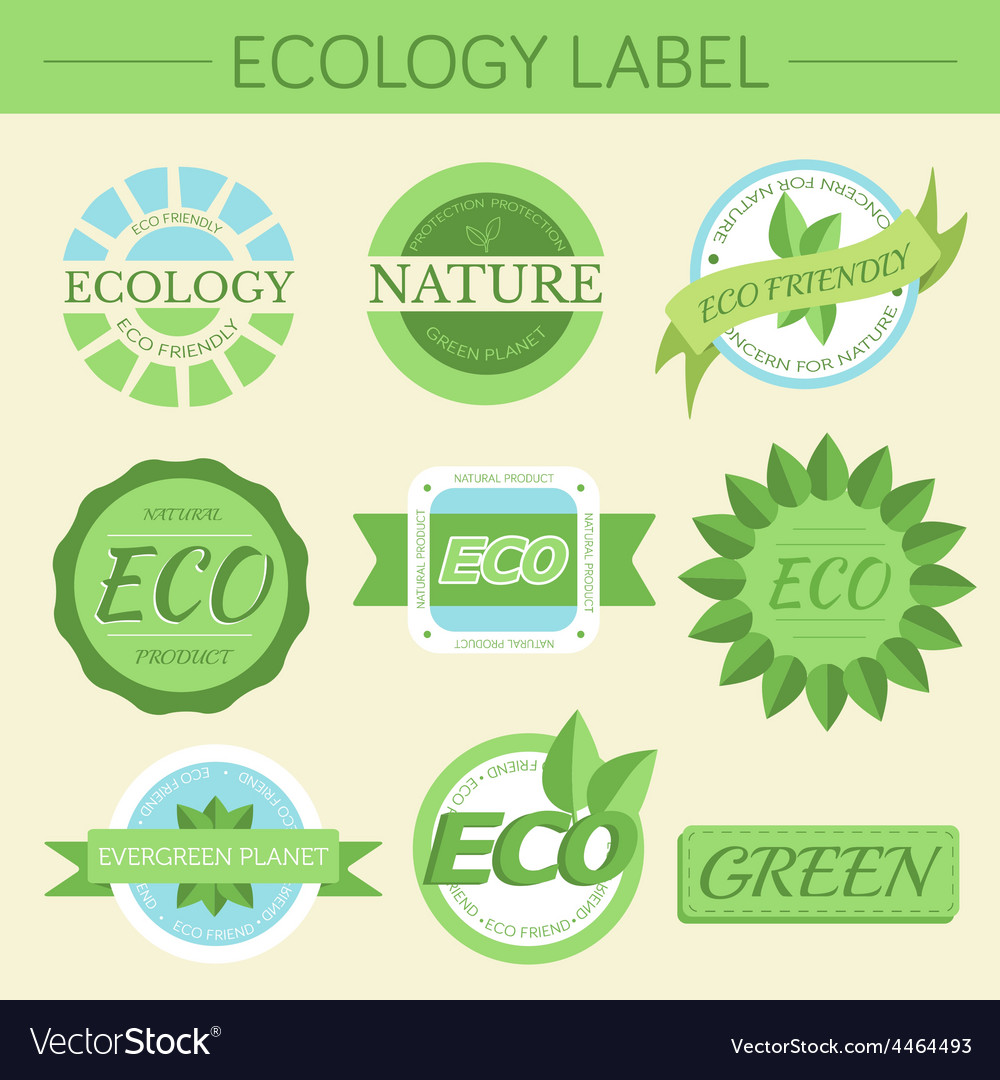 Green eco nature label print set vector | Price: 1 Credit (USD $1)