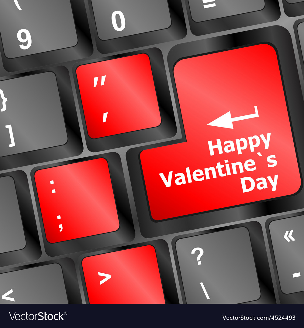 Happy valentine s day button on the keyboard - vector | Price: 1 Credit (USD $1)
