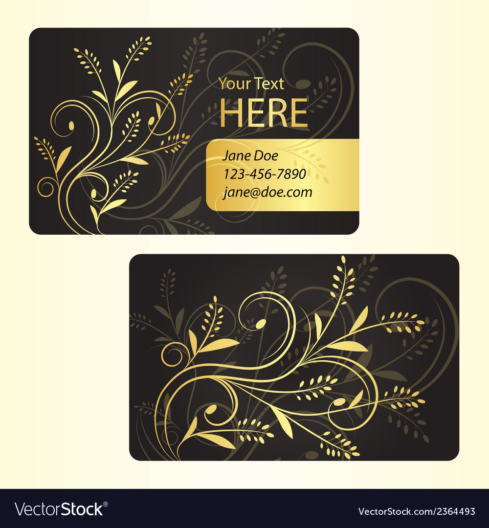 Luxury business card with golden floral decoration vector | Price: 1 Credit (USD $1)