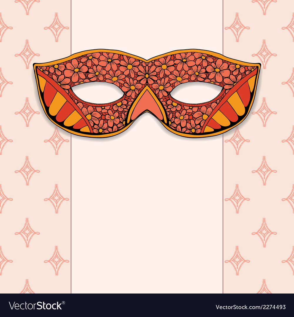 Masquerade mask on a rose background vector | Price: 1 Credit (USD $1)