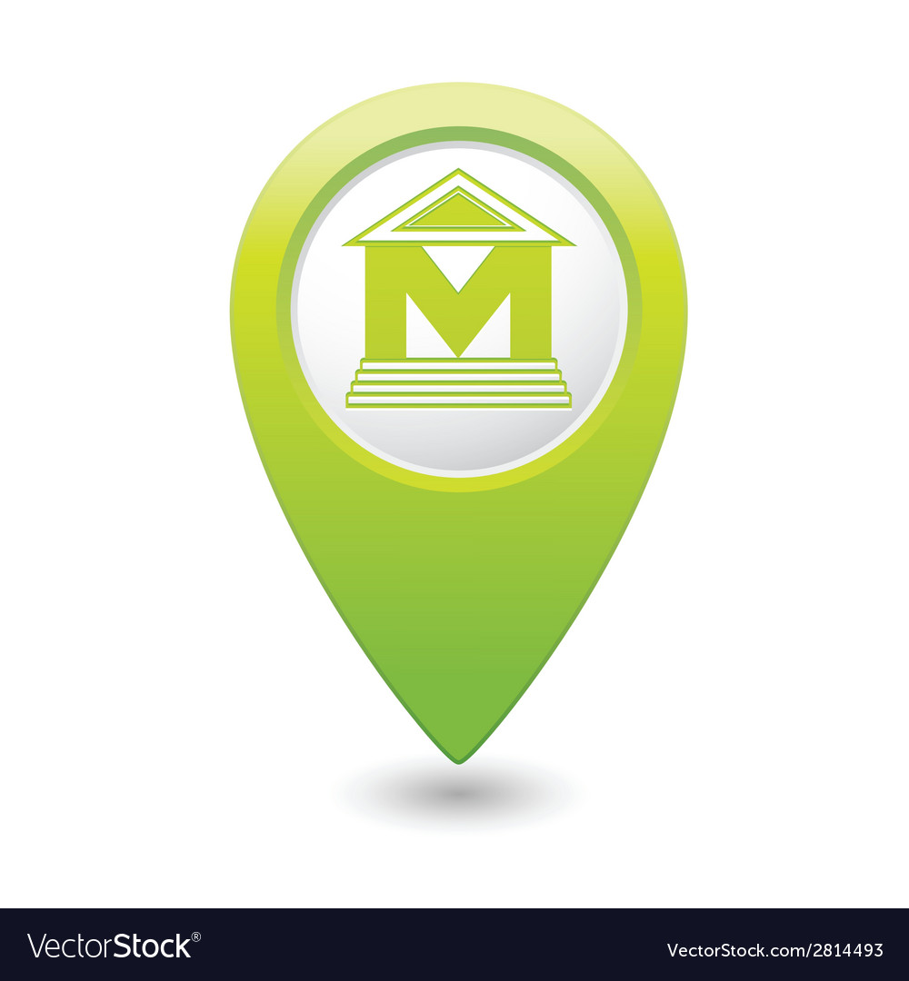 Museum icon green pointer vector | Price: 1 Credit (USD $1)