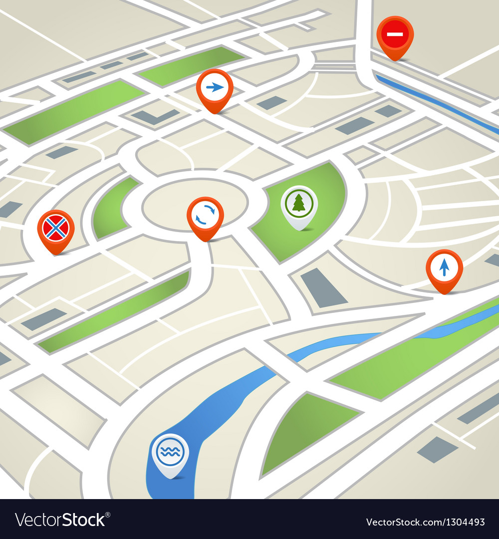 Perspective background of abstract city map vector | Price: 1 Credit (USD $1)