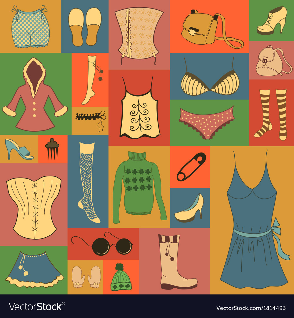 Retro hipsters clothes set vector | Price: 1 Credit (USD $1)