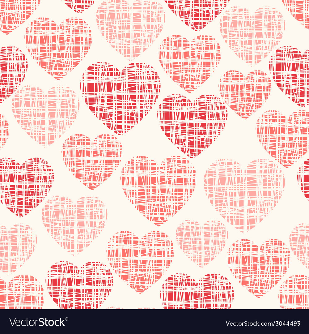 Sketchy seamless pattern with hearts vector | Price: 1 Credit (USD $1)