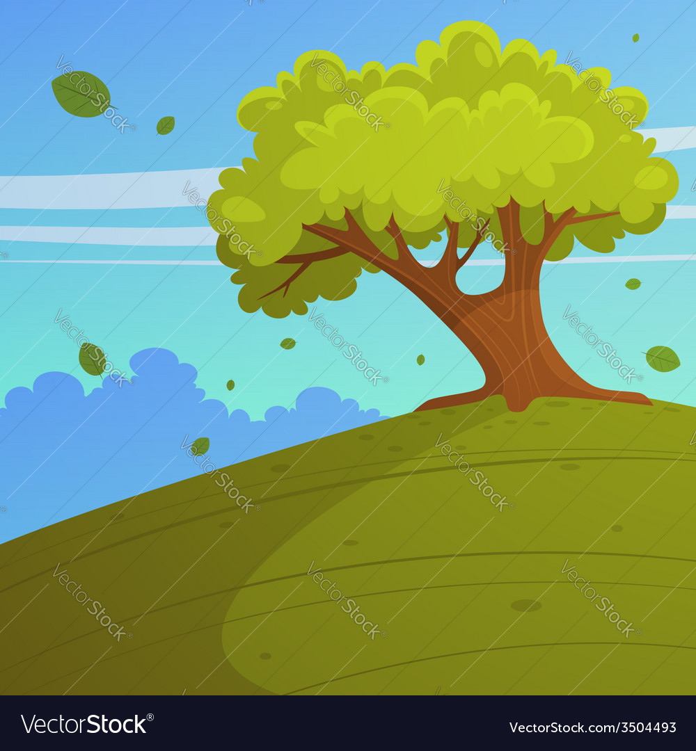 Tree on the hill vector | Price: 3 Credit (USD $3)