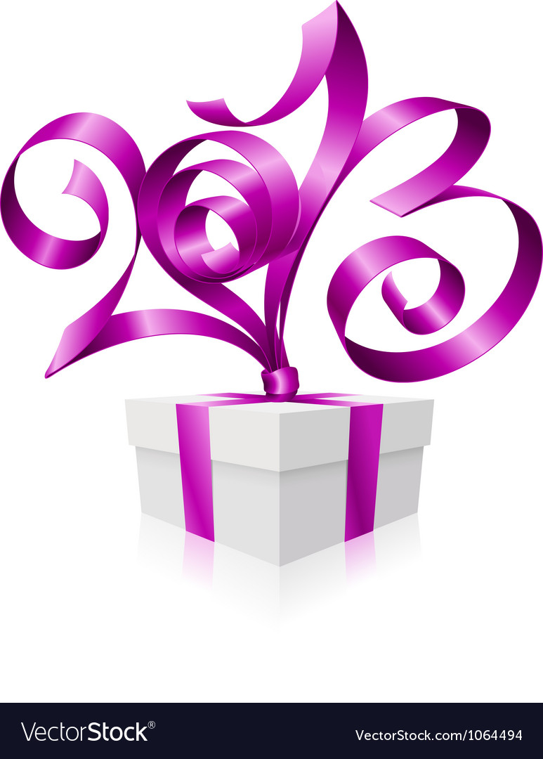 2013 ribbon gift box vector | Price: 1 Credit (USD $1)