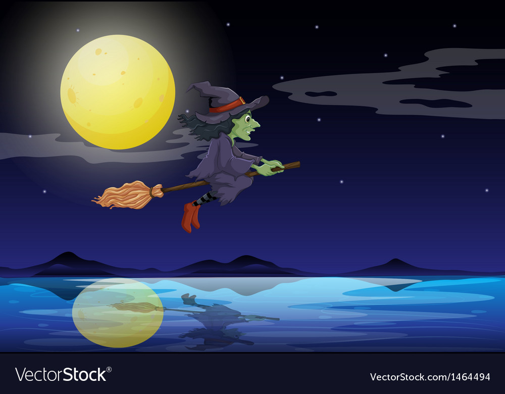 A witch riding on a broom travelling in the middle vector   Price: 1 Credit (USD $1)