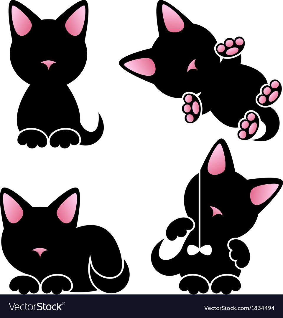 Abstract cute kitten set vector | Price: 1 Credit (USD $1)