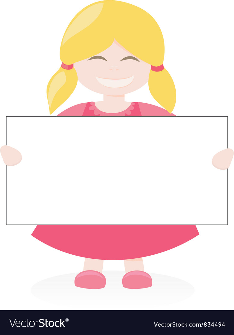 Blond girl holding white empty banner vector | Price: 1 Credit (USD $1)