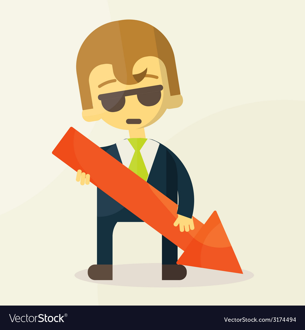 Businessman holding graph down vector | Price: 1 Credit (USD $1)