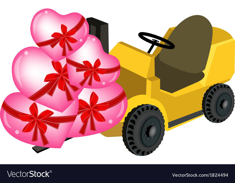 Forklift truck loading a stack of hearts vector | Price: 1 Credit (USD $1)