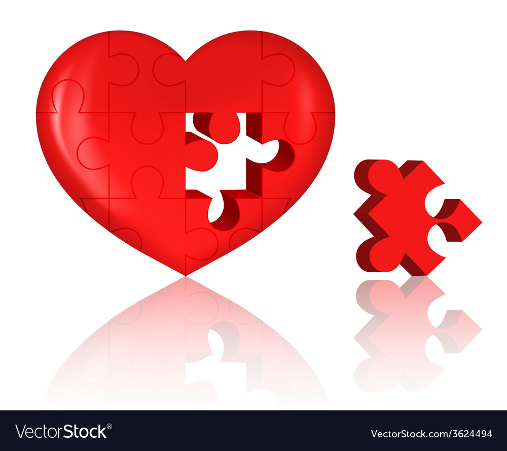 Jigsaw heart vector | Price: 1 Credit (USD $1)