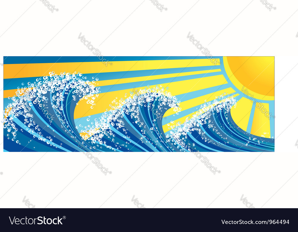Sea waves and sun vector | Price: 1 Credit (USD $1)