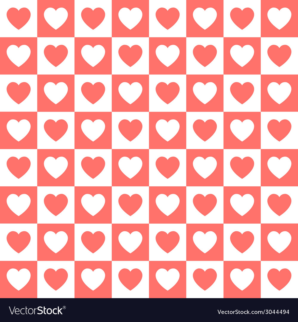 Seamless retro pattern with hearts vector | Price: 1 Credit (USD $1)