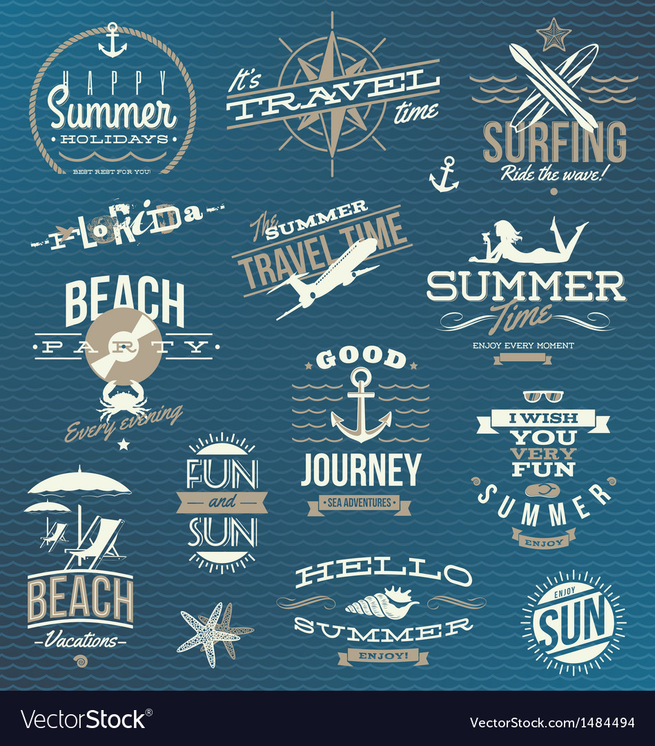 Set of travel and vacation emblems and symbols vector | Price: 3 Credit (USD $3)