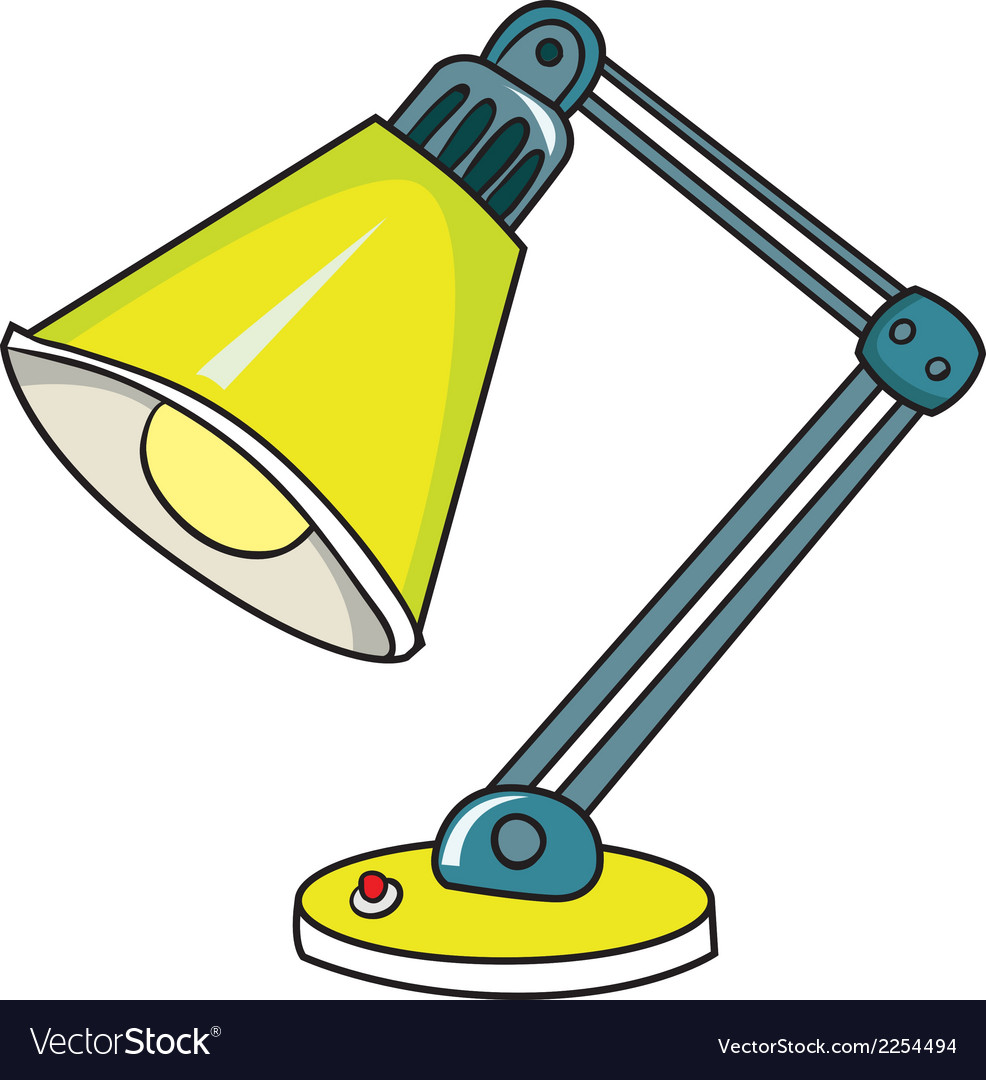 Yellow desk lamp on white background vector | Price: 1 Credit (USD $1)
