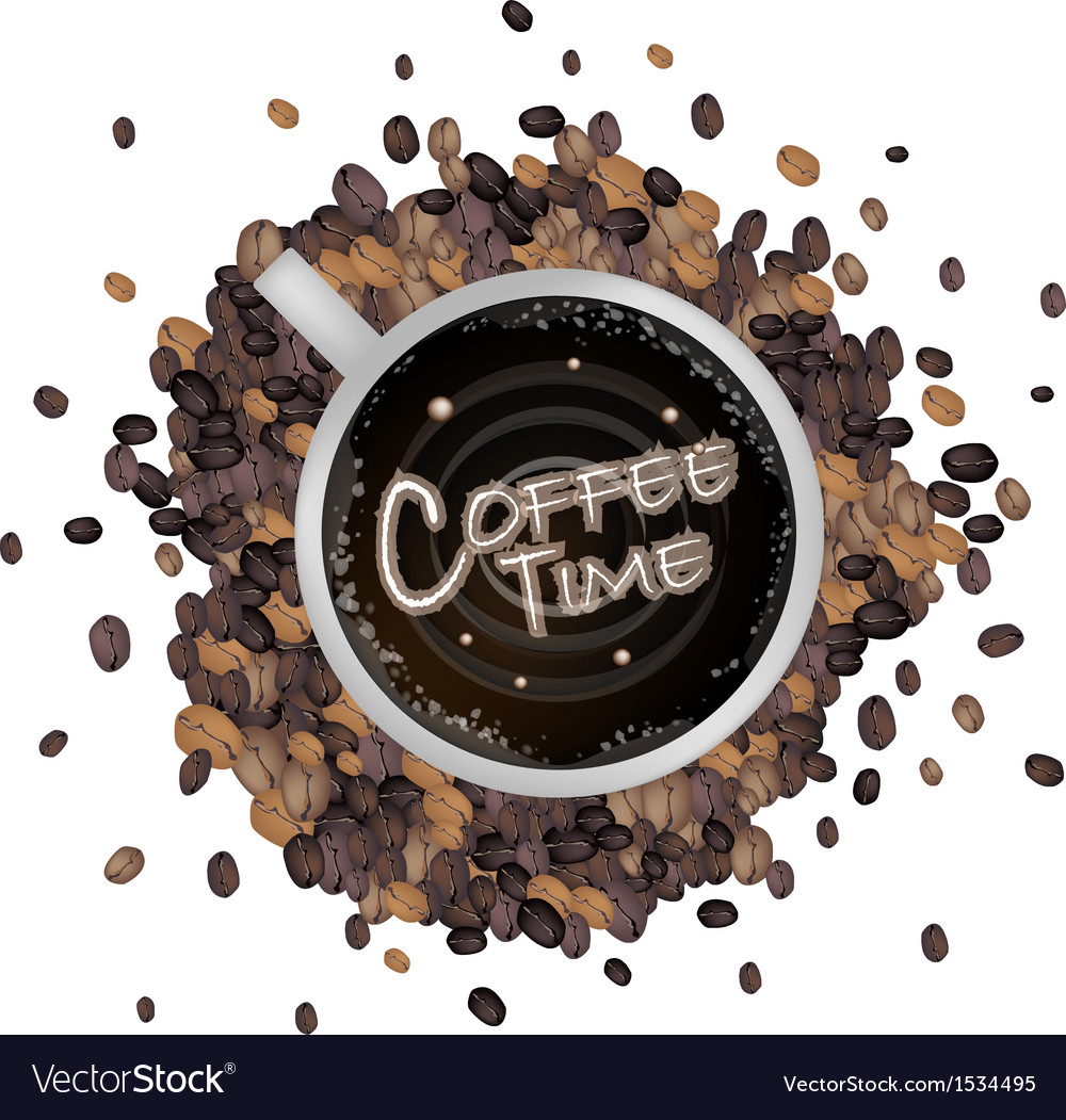 A cup of hot coffee with coffee time word vector | Price: 1 Credit (USD $1)