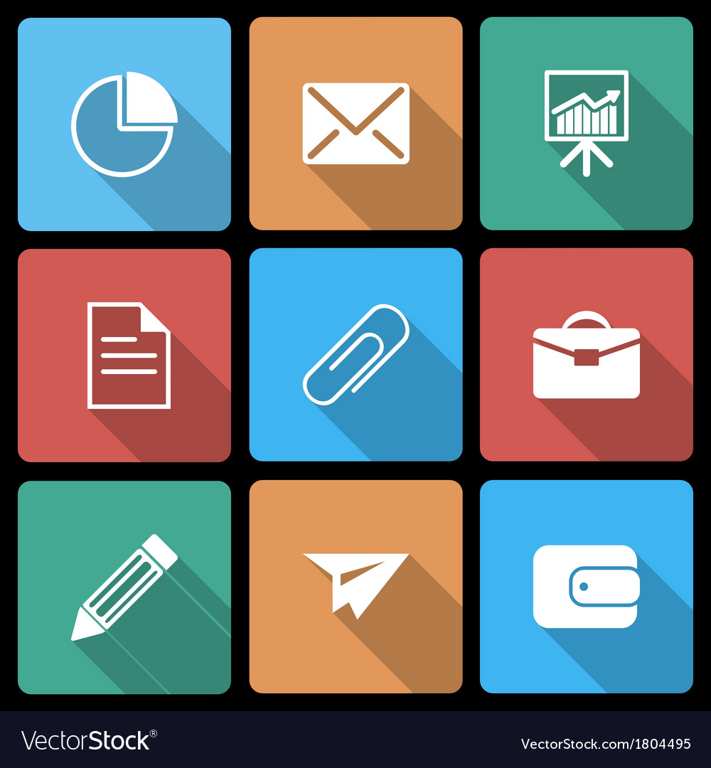 Business icons with long shadow vector   Price: 1 Credit (USD $1)