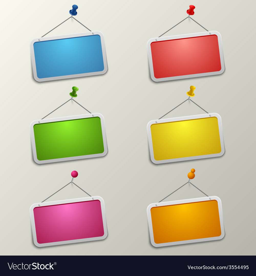 Colorful blank labels with pins template vector | Price: 1 Credit (USD $1)