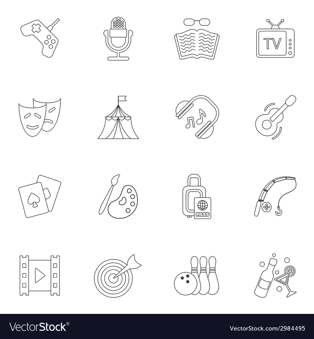 Entertainments icons outline vector | Price: 1 Credit (USD $1)