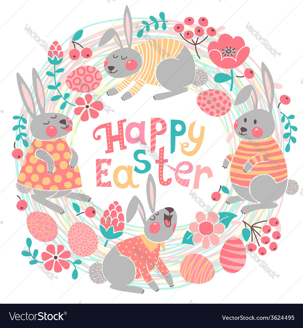 Happy easter card with cute bunnies and colored vector | Price: 1 Credit (USD $1)