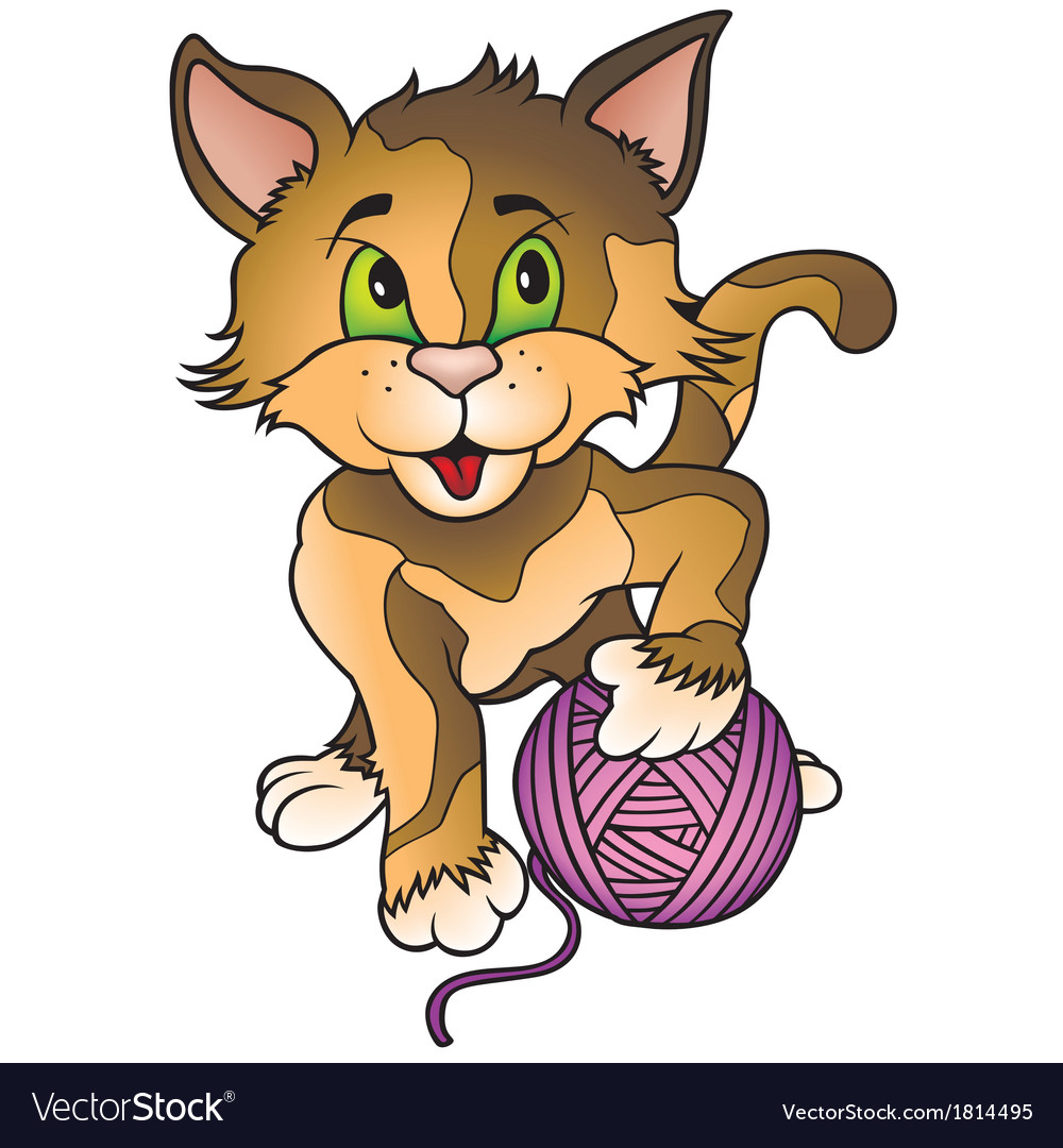 Kitten and ball of wool vector | Price: 1 Credit (USD $1)