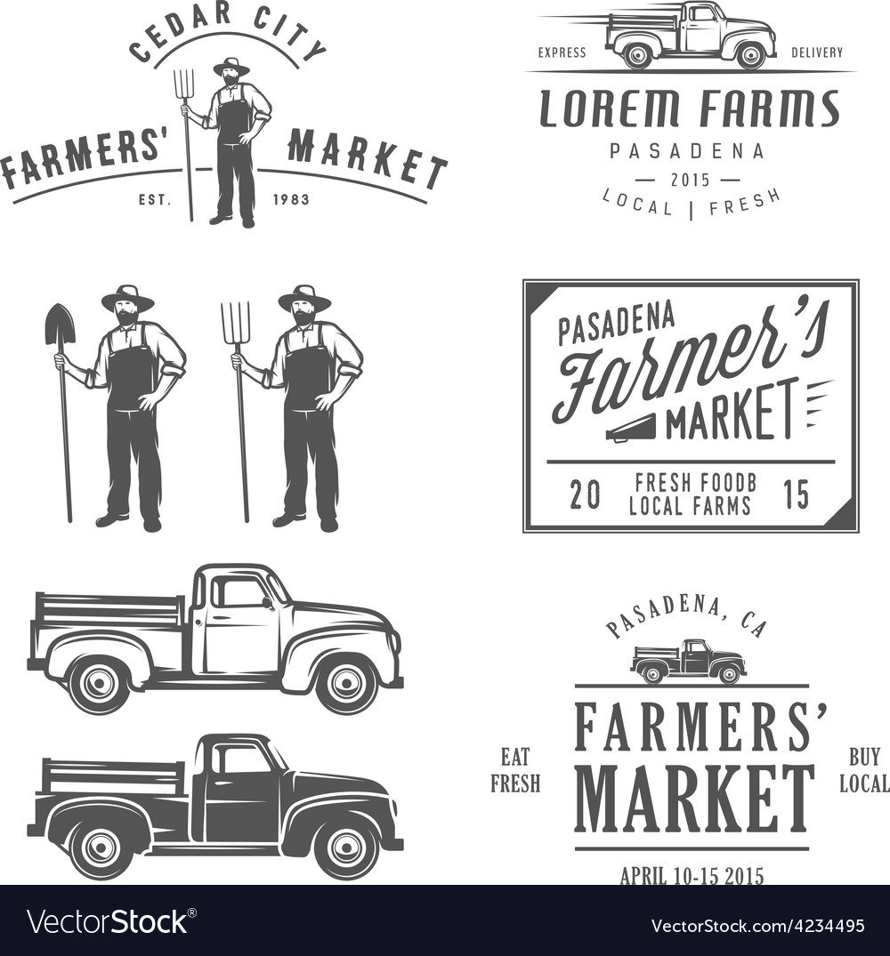 Vintage farming labels badges and design elements vector | Price: 1 Credit (USD $1)