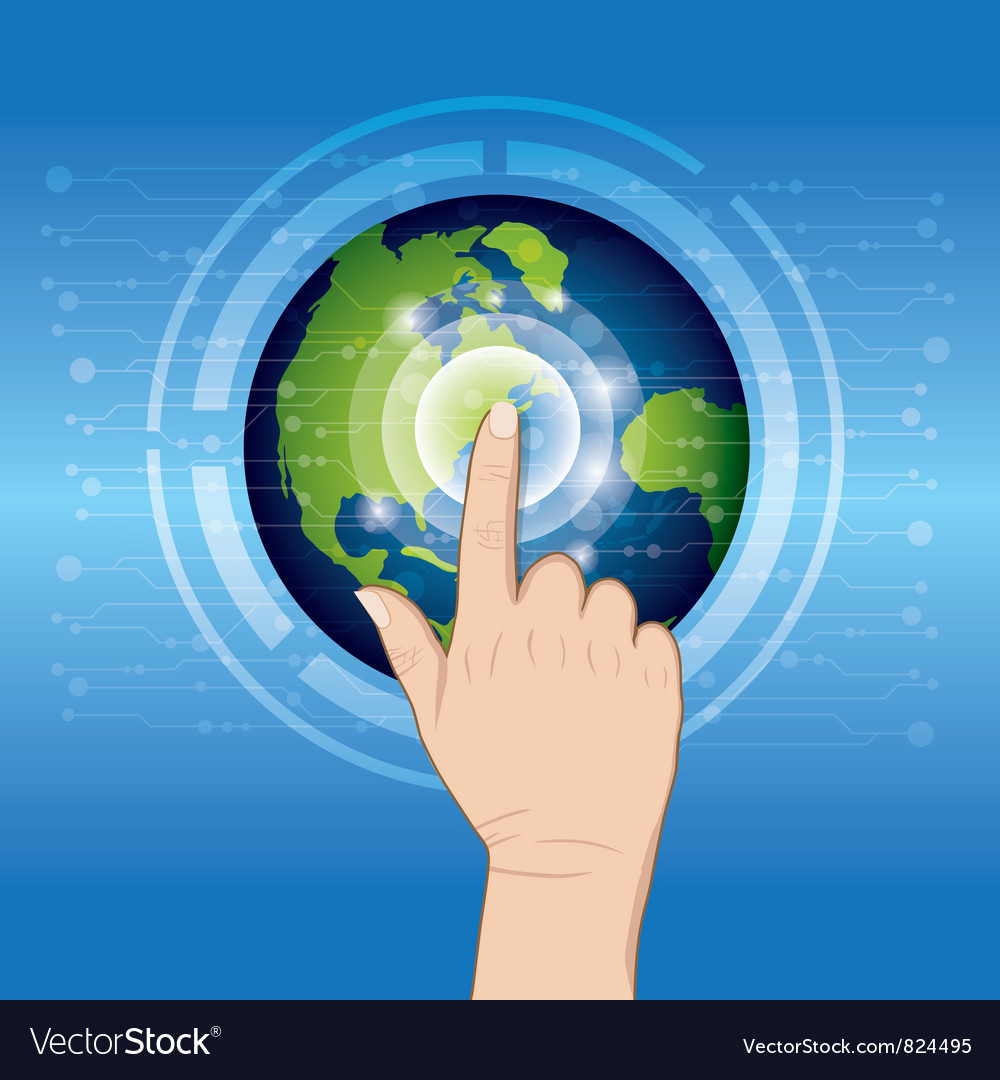 World technology with hand pushing vector | Price: 1 Credit (USD $1)
