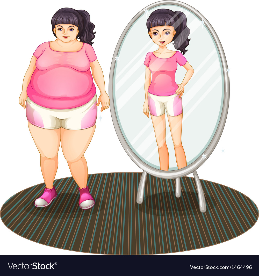 A fat girl and her slim version in the mirror vector | Price: 1 Credit (USD $1)
