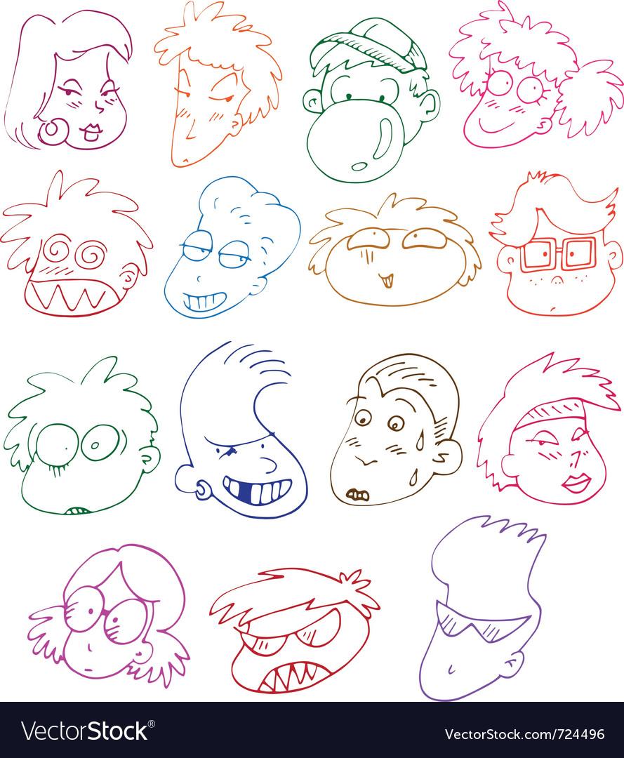 Comics characters set vector | Price: 1 Credit (USD $1)
