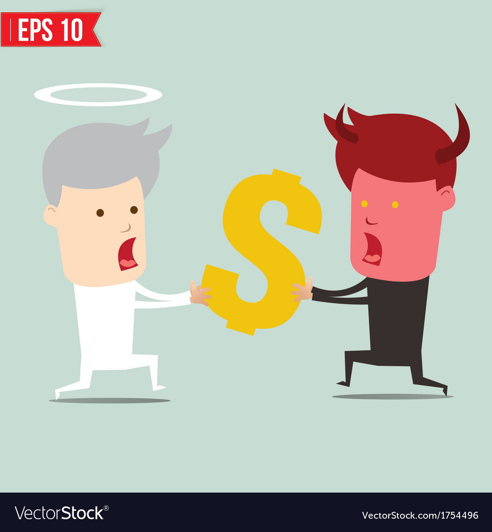Devil and angel snatching money - - eps10 vector | Price: 1 Credit (USD $1)