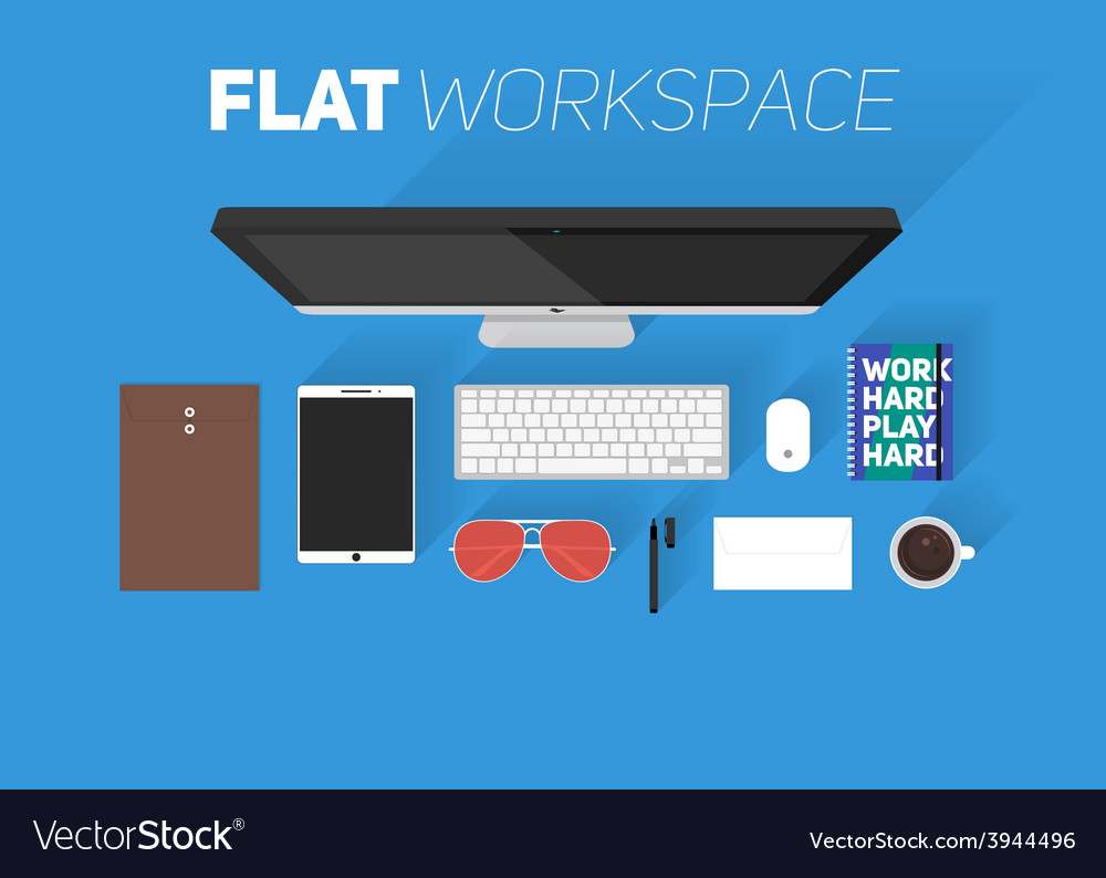 Flat design of office workspace top view of vector | Price: 1 Credit (USD $1)