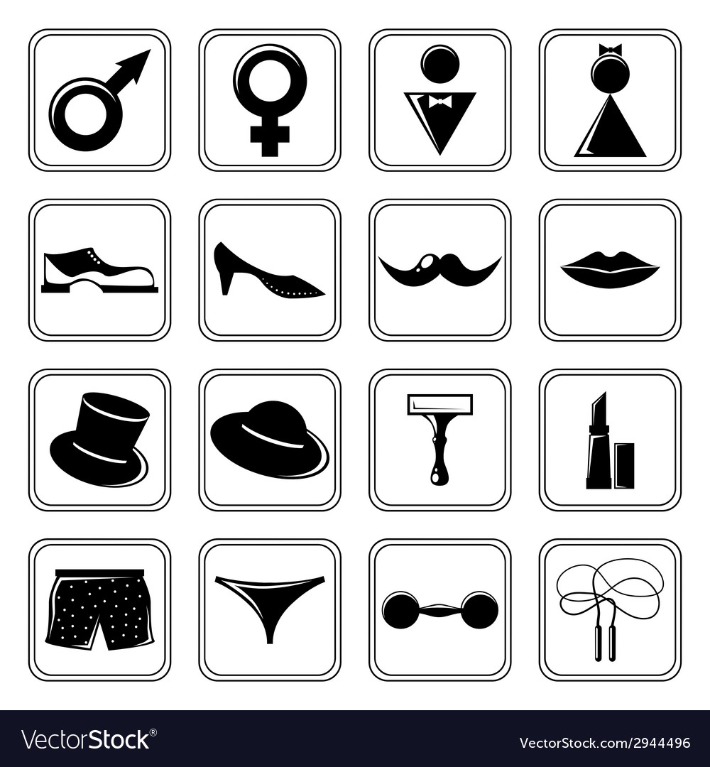 Gender icons set black vector | Price: 1 Credit (USD $1)