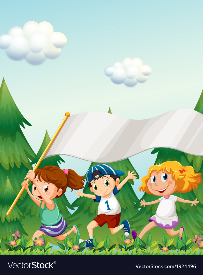 Kids running with an empty banner vector | Price: 3 Credit (USD $3)