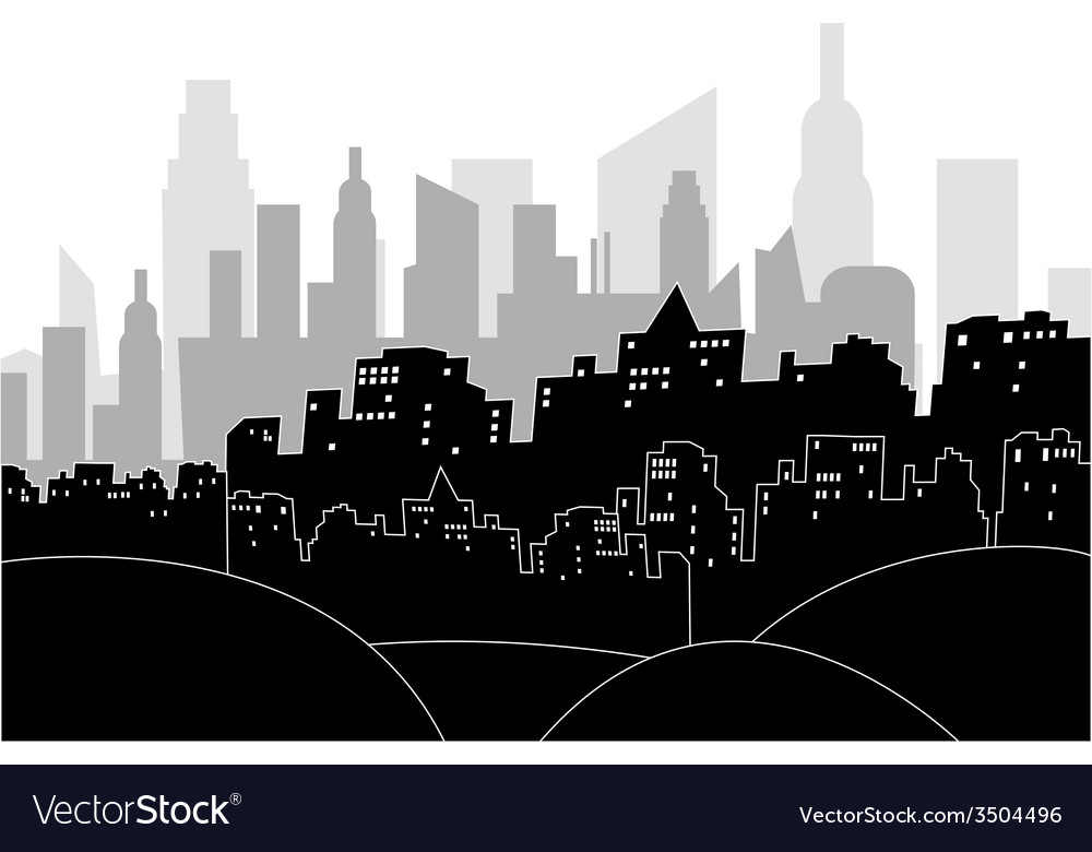 Modern city by night vector | Price: 1 Credit (USD $1)