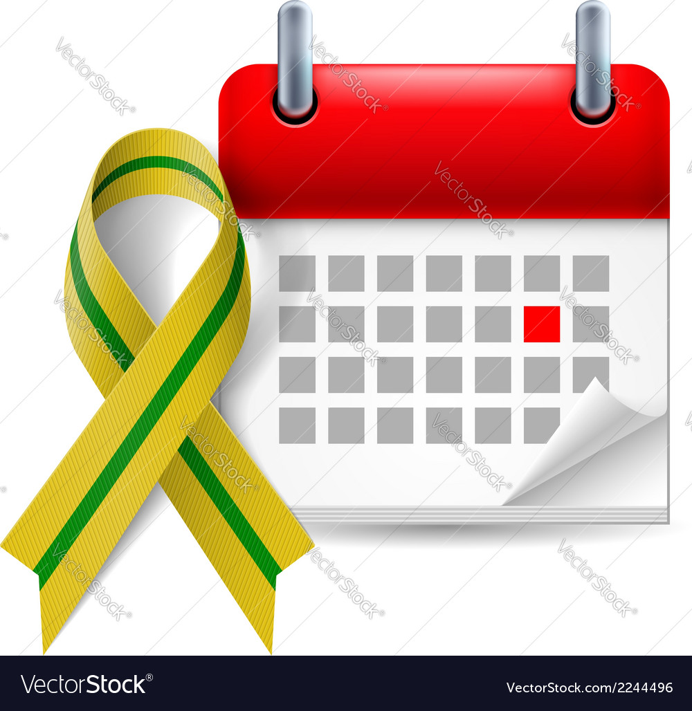 Olivegreen awareness ribbon and calendar vector | Price: 1 Credit (USD $1)