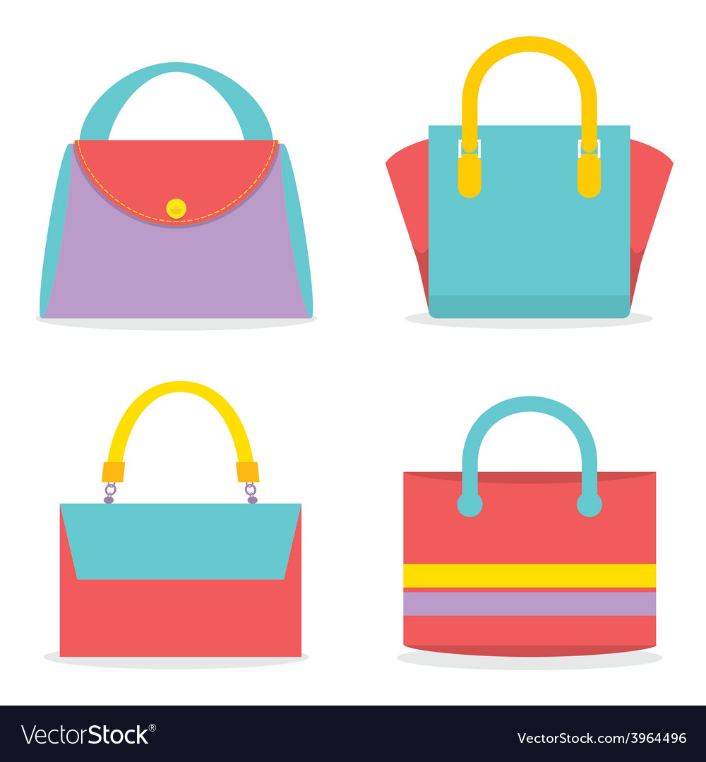 Set of colorful women bags vector | Price: 1 Credit (USD $1)