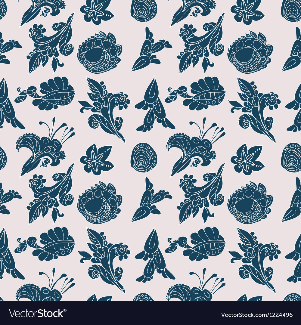 Vintage white and blue floral seamless pattern vector | Price: 1 Credit (USD $1)